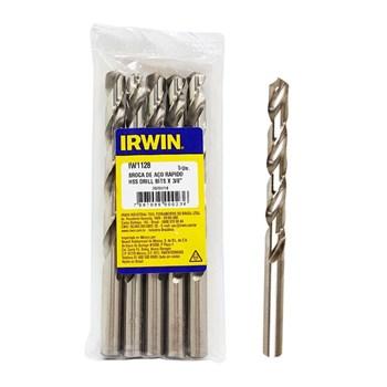 "Broca Aço Rápido 3/8"" 9.52mm Irwin Kit c/ 5"