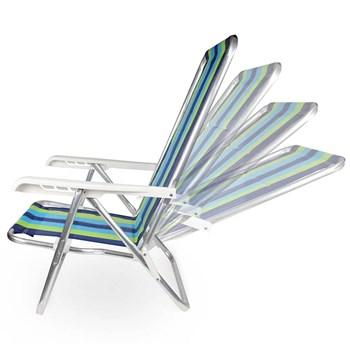 Cadeira de Praia Piscina Reclinavel 4 Posições Aluminío Dobravel Mor