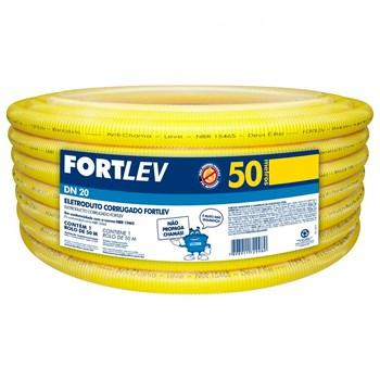 """Conduíte Corrugado 3/4"""" 25mm 50 metros Amarelo Parede Fortlev"""