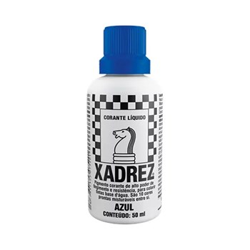 Corante Líquido Xadrez 50ml Bisnaga Azul Caixa Com 12