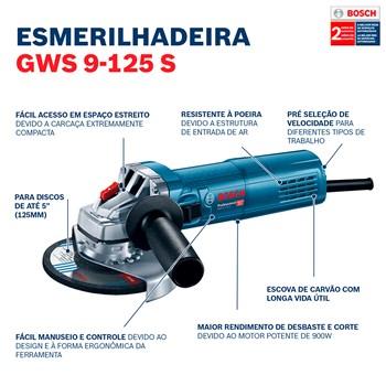 """Esmerilhadeira Angular de 5"""" GWS 9-125 S 900W Bosch 110V"""