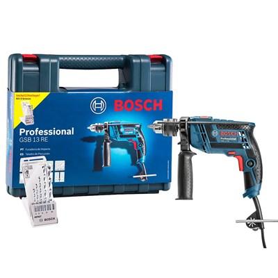 Furadeira De Impacto 1/2 650w Maleta 5 Brocas GSB13RE Bosch com Suporte de Bancada