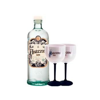 Gin Artesanal Clássico Amázzoni Premium 750ml C/ 2 Taças