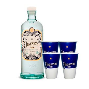 Gin Artesanal Clássico Amázzoni Premium 750ml C/ 4 Copos