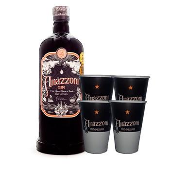 Gin Artesanal Rio Negro Premium Amázzoni 750ml C/ 4 Copos