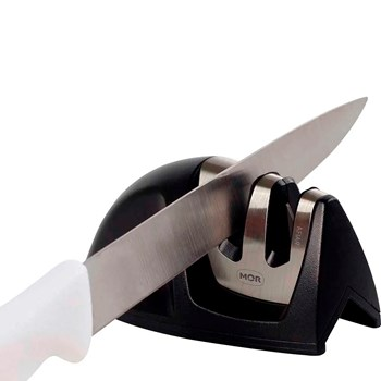 Jogo de Facas Inox 3 Peças Branco Premium Tramontina + Afiador Amolador de Faca 9,5cm x 5cm Mor