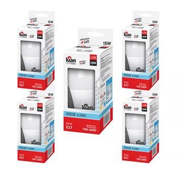 Kit 05 Lâmpada Bulbo Led 15w Branco Frio 6500k Kian