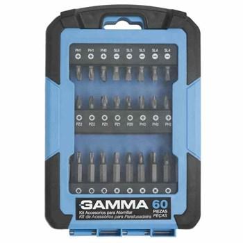 Kit de Acessórios Gamma p/ Parafusadeira G19526AC Gamma 60 peças