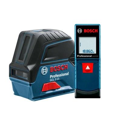 Nível A Laser de Linhas e Pontos 15m Gcl 2-15 e Trena Laser 20m Bosch