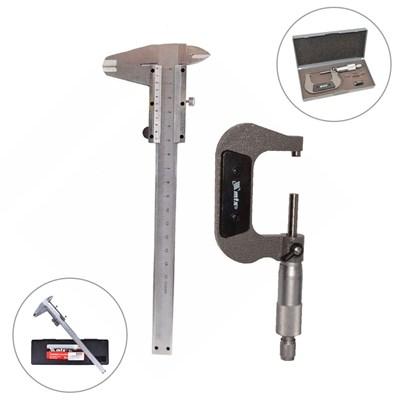 Paquímetro Universal 150mm 6 polegadas em Aço Inox com Micrômetro 0 a 25mm MTX