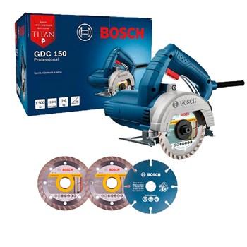 Serra Mármore Bosch Titan 1500W GDC150 + Disco Para Madeira